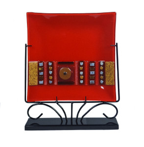 13in Geometric Sq Platter Red 1010