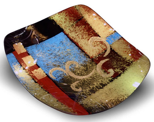 "A 15"" square platter featuring blue, red, black and gold fused glass with some hand painted gold swirls"