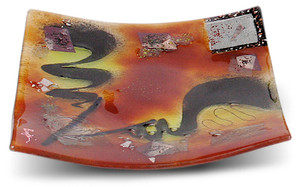 12in square fused glass plate from the Whirlwind series.  Fiery reds, yellows and black
