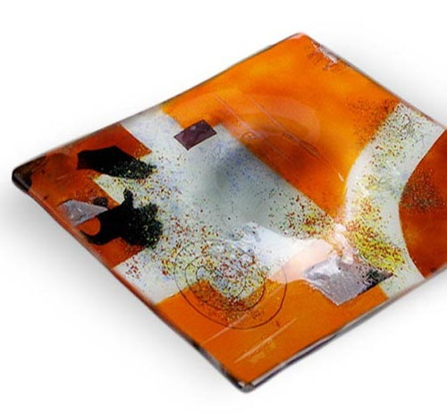 "15"" Square fused glass platter featuring orange, red and white with black and hand painted metallic gold highlighting.  Abstract patterns"