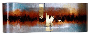 "28"" fused glass rectangular platter in silver, rust, red, and black, with hand painted metallic gold and black details"