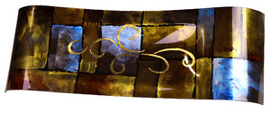 A large waving rectangular platter featureing geometric shapes in brown, gold and touch of blue and black.  Hand-painted and centered Gold curls are neatly positioned