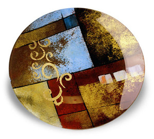 Emblema collection, a metallic abstract fused are glass platter featuring red, brown, black and blue with gold hand painted details