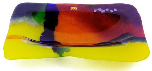 Contemporary fused art glass rectangular platter primarily in yellow, blue and red, there is also some green and tiny skillfully placed metal screens fused into place for added interest
