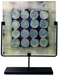 17in Square Panel in decorative fused glass.  A mixture of white, yellow and black muted colors in the background, surrounding off white circular glass beads arranged in a symmetric pattern