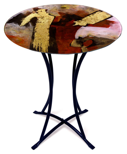 The Gold Brush fused glass cafe table is rich with red, black, white and gold colors