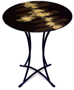 "This fused glass cafe table with metal legs is 20"" x 30"" high.  Black, brown background with hand painted gold finishing touches"
