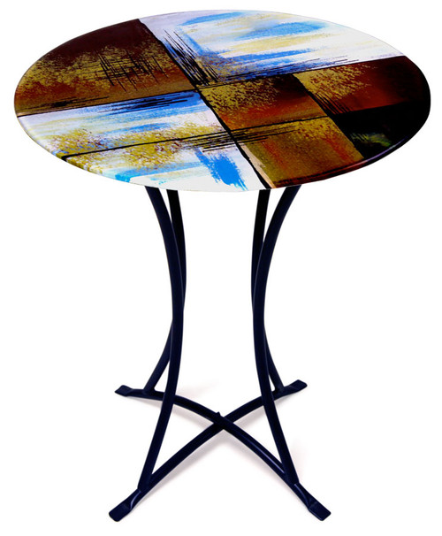 Hand painting is featured on this contemporary fused glass cafe table in hues of red, brown, black, white and blue.  Gold highlights added for detail