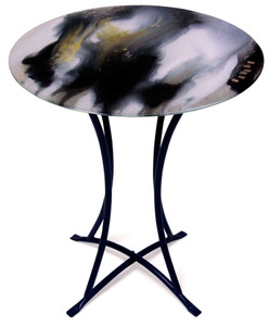 Round fused glass cafe table, featuring black and white with gold highlights along with copper metallic squares