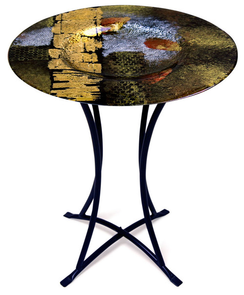 "Autumn colors are featured in this 20"" x 30""H decorative fused art glass table"
