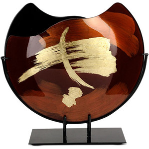 "16"" round fused glass vase with browns and blacks, with gold hand-painting"