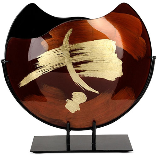 """16"""" round fused glass vase with browns and blacks, with gold hand-painting"""