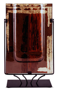 18 inch by 10 inch rectangular vase. This vase has gold, black and red coloring. Abstract.