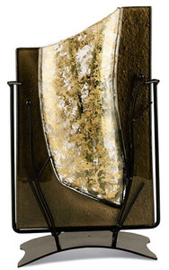 "A beautiful 14"" rectangular fused glass vase in gold and black with an intricate wire stand"