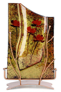 """A beautiful 14"""" rectangular fused glass vase in gold with darker stipple finish, featuring four red roses and a intricate botanical stand"""