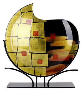 Small red squares mark this fused glass round vase, featuring black, red, and large gold squares