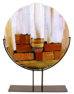 "A 20"" diameter round glass vase with gold, white and red geometric rectangles.  Stand included"