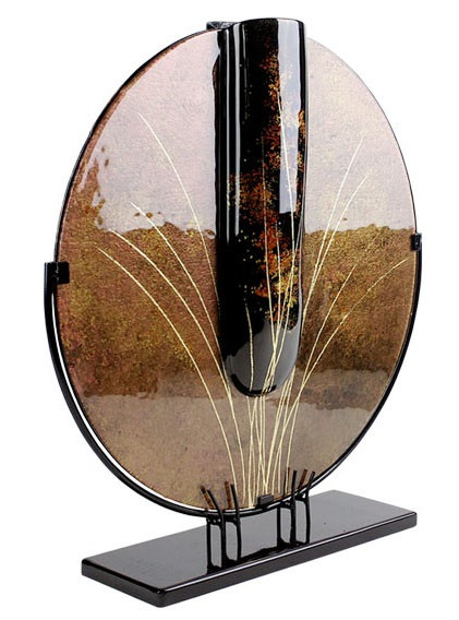Round fused glass vase 23in tall, in brown, with gold blades of grass