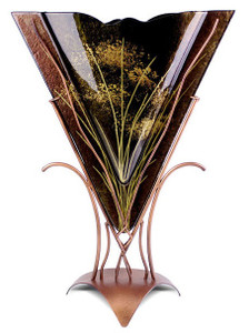 Triangle brown fused glass vase with gold grasses and hand painted flowers