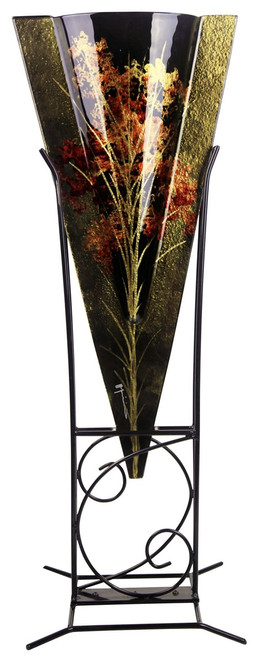 Floor Vase 20217 Brown Fused Glass Grasses Flowers