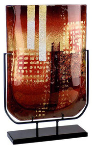Golden City U  Vase 19in in red, black and gold, on a stand