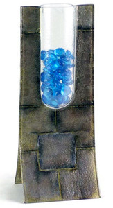 A freestanding bud vase standing 13x5, with geometric squares, and blue glass beads