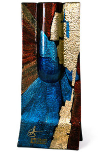 This 13 x 5 inch freestanding bud vase features blue, brown, and red speeding from the the center, with gold highlighting.  Signature