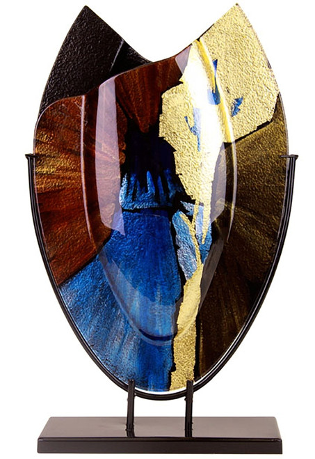 From our Speedy series, this 21 inch tall oval vase features blue, brown and black speeding from the center, with some brilliant gold highlights