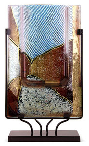 Rectangular Vase 18in Tall featuring blue brown, white and gold.  There is some combing effect to this vase