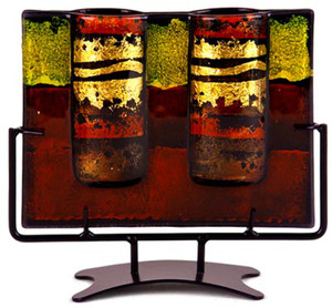 This Contemporary Column, double bud vase in fused glass is a study in red and yellow, with black frames and hand painted metallic gold details.  Stand included