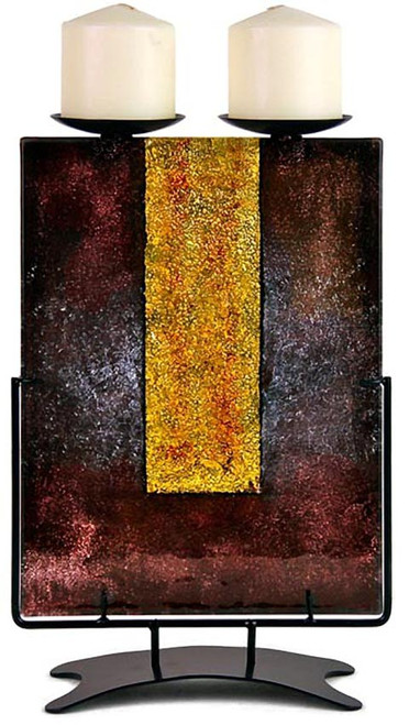 This fused glass, twin candle holding, from our Gold Pillar series, is a work in dark brown with a single bold gold vertical stripe.  Stand included.