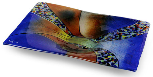 A colorful fused glass platter in blue and orange, with multiple additional colors.  In our Sky Bridge series!