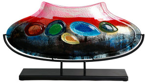 20.5inx11.5in oval fused glass vase, in dark blue and red, with multiple colored glass jewels fused in place