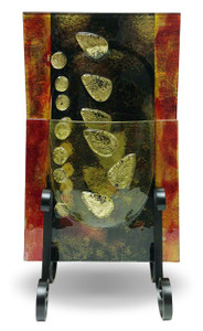 Fused Glass Vase featuring fused Gold Leaves.  Stand included