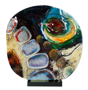 "14"" x 15"" Round Sculpture Summer Wave with Black Acrylic Stand (70155)"