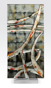"""9.5"""" x 20"""" Sculpture Abstract Silver with Acrylic Stand (71114)"""