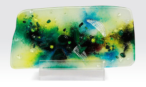 """11.5"""" x 7"""" Sculpture Green Abstract Geometric with Acrylic Stand (71120)"""