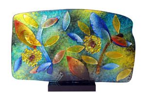 """16"""" x 15"""" Sculpture Color Leaves with Black Acrylic Stand (71132)"""