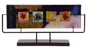 "18"" x 9"" Rectangular Fused Art Glass featuring four flowers"