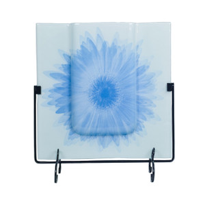 """13"""" Square Vase with Metal Stand 80407"""