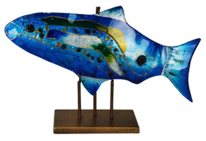 "18"" x 10"" Blue Fish, Gold Kissed Stand 71150"