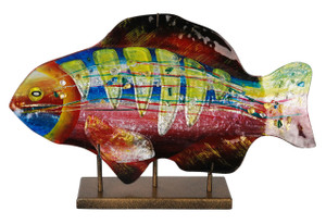 "18"" Lime Gills Fish Sculpture with Stand 71153"