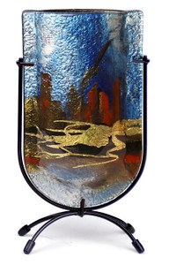 "9"" Mini U vase, Hand painted on fused glass (73004) (Coming in December)"