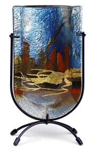 """9"""" Mini U vase, Hand painted on fused glass (73004)"""
