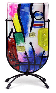 "9"" Mini U vase, Hand painted on fused glass (73006) (Coming in December)"