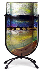 "9"" Mini U vase, Hand painted on fused glass (73007) (Coming in December)"