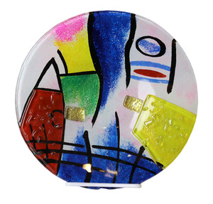 "10"" Plate, Hand painted on fused glass (71196)"
