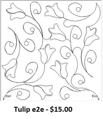 Tulip quilt pattern is an e2e designed for digital longarm quilting.  The formats offered are qli or iqp.  Actual width is 9.39 and actual height is 9.39.