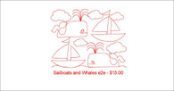 Sailboats and Whales in qli and IQp format for longarm quilting.