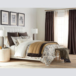 Amity Home Alexandra Silk and Velvet Quilt - Ochre/Charcoal